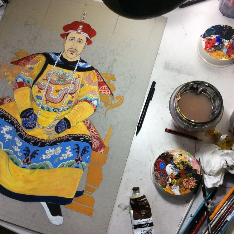 Chinese emperor mid painting.