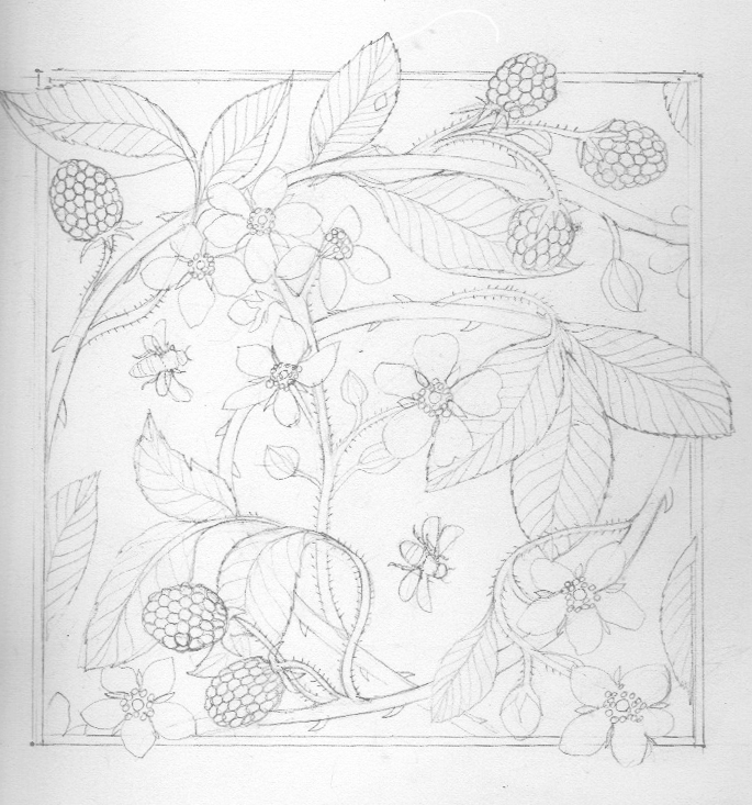 Pencil drawing rough of brambles and bees.