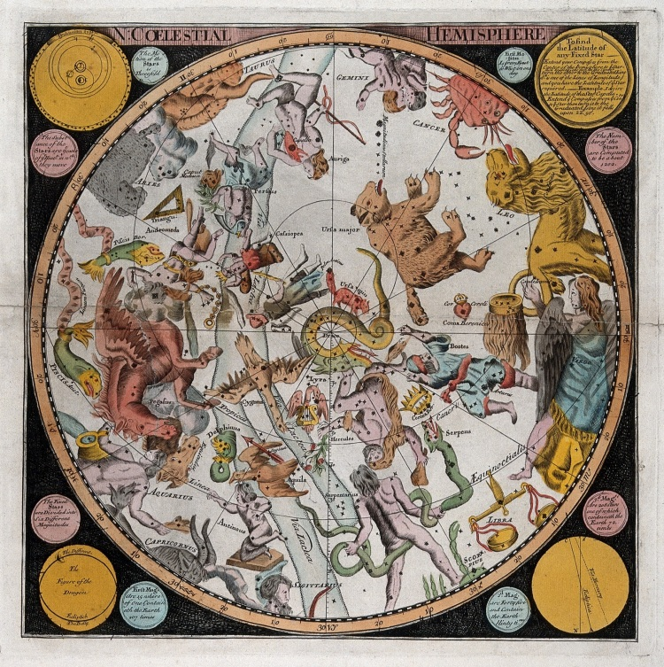 V0025744 Astronomy: a star map of the night sky in the northern hemis